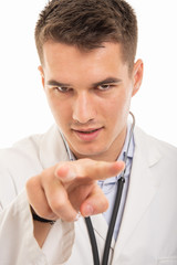 Close-up of handsome doctor watching you gesture