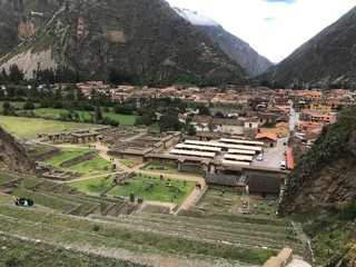 Village View from Ollantaytambo, Inca Ruin in Peru