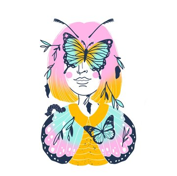 Abstract Illustration Butterfly Girl