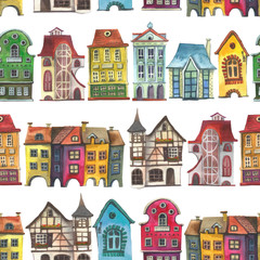 Old europe houses seamless pattern on white. Set of watercolor colorful european amsterdam style houses
