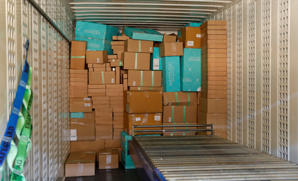 Parcels are seen in a container at the Austrian Post logistics centre in Vienna