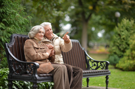 Portrait of couple sitting on wooden bench