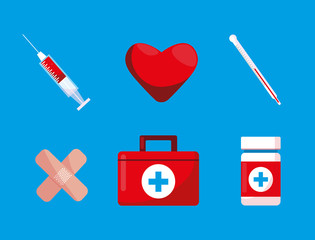 first aid kit with set icons