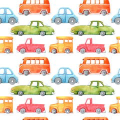 Watercolor seamless pattern with cartoon car. Funny cartoon image. Travel conception. Hand painted retro car pattern. Watercolor vintage white background. . Multicolor car texture.
