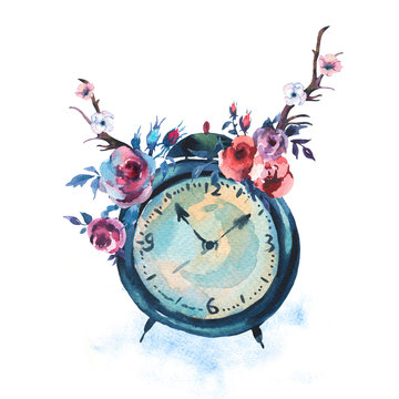 Watercolor Vintage Alarm Clock With Flowers in Bohemian Style
