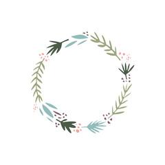 Vector floral illustration, frame or wreath, scrapbook design, pastel florals set, template for logo