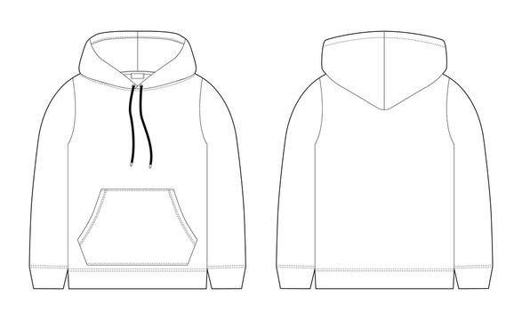 Fashion technical sketch for men hoodie. Mockup template hoody.