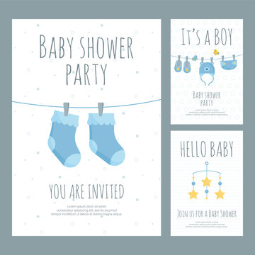 Baby shower invitation for future mother of little boy in flat style.