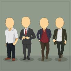 Caricature Casual Man Body Template