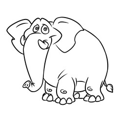 Big kind blue elephant cartoon  animal character illustration isolated image coloring page
