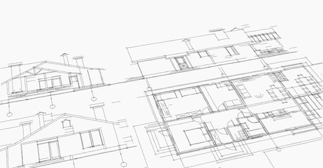 house, architectural project, sketch Fototapete