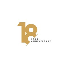 18 Year Anniversary Vector Template Design Illustration