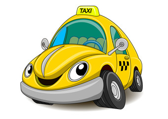 Cartoon funny yellow taxi