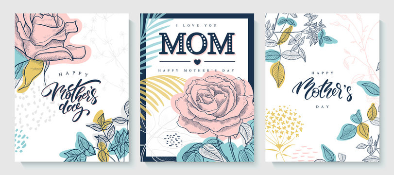 Set of greeting cards Happy Mother's day. Beautiful hand-drawn roses, plants and lettering. Vector illustration.
