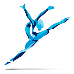 Trendy stylized illustration movement, curly gymnastics, acrobatics, line vector silhouette of curly gymnastics.
