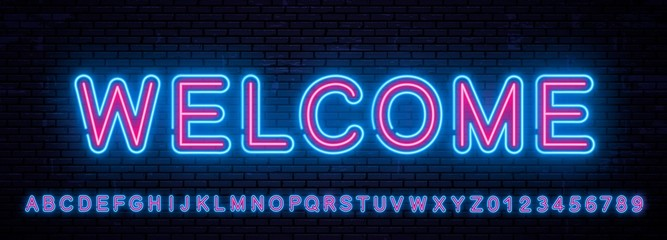 Beautiful set of vector neon english letters
