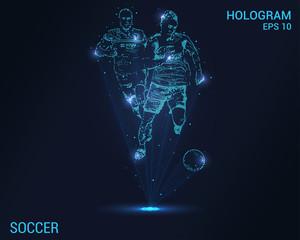 Soccer hologram. Digital and technological background of football. Futuristic sports design.