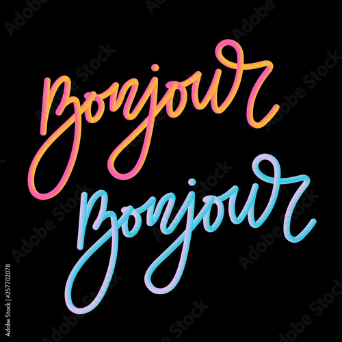 Bonjour 3D slogan modern Fashion Slogan for T-shirt graphic vector