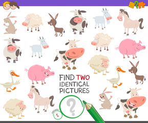 find two identical farm animals task for kids