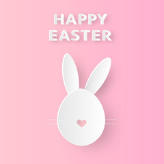 Happy easter greeting. Paper cut style with bunny that looks cute