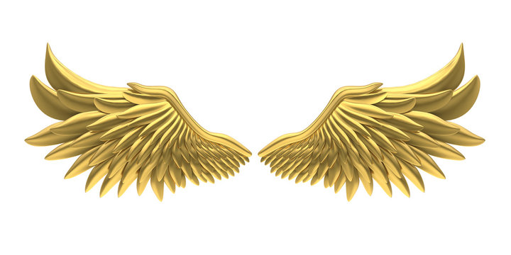 Golden Angel Wings Isolated