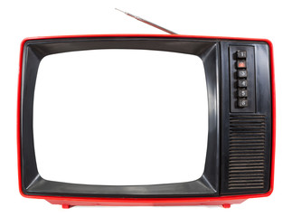 Vintage portable TV set with cutout screen isolated on white