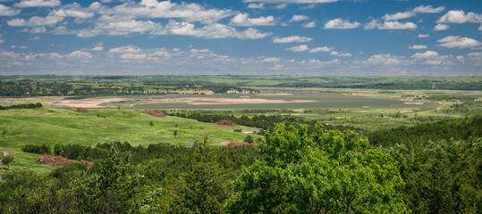 Panoramic view of the Missouri river from Niobrara state park, Nebraska.