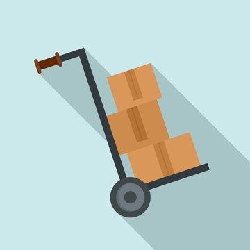 Warehouse cart box icon. Flat illustration of warehouse cart box vector icon for web design