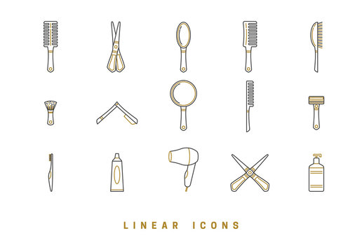 Icons barbershop in linear style. set of tools for hair care, comb brush, scissors. hairbrush icon vector graphics