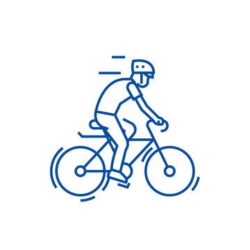Bicycling,bycicle man line concept icon. Bicycling,bycicle man flat  vector website sign, outline symbol, illustration.