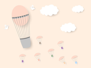 From a balloon with chicks, rabbits with Easter colored eggs fly on parachutes. Happy Easter. Vector illustration.