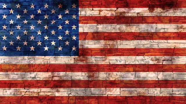 Grunge USA Flag on Brick Wall