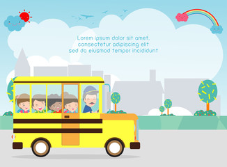 School bus. happy smiling kids riding on a school bus with a driver. Template for advertising brochure, your text,Kids and frame,child and frame,Vector Illustration
