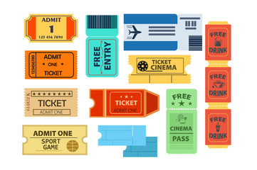 Tickets illustration set. Paper, pass, coupon. Access concept. Can be used for topics like cinema, plane, sport game