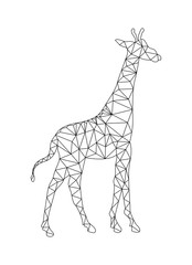 Outline drawing of a Giraffe to color in the polygon style