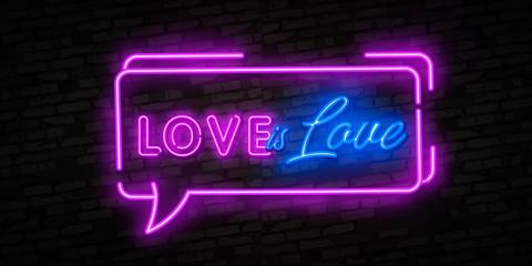 Love is Love neon text vector design template. LGBT neon logo, light banner design element colorful modern design trend, night bright advertising, bright sign. Vector illustration