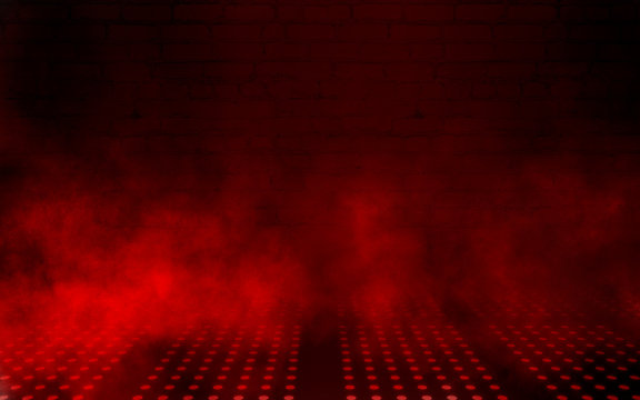 Empty scene background. Dark background of empty room, neon red light, concrete floor, smoke