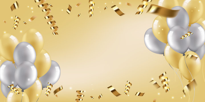Festive wide poster of golden and silver balloons with ribbons, empty space in center. Vector 3D realistic inflatable balls.