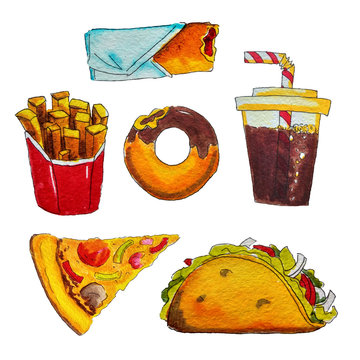 Watercolor fast food
