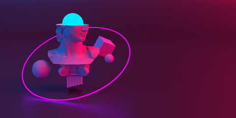 Fototapeta 3d-illustration of an abstract composition of sculpture and primitive objects obraz