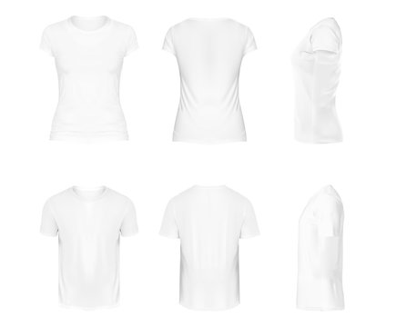 Vector realistic set of white round neck t-shirts with short sleeves, sportswear, sport uniform for football or rugby isolated on white background. Mockup for clothes design, front, rear and side view