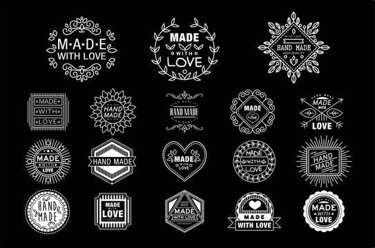 Vector set of stylish white logos for handmade goods. Made with love. Branding identity. Design for business card, ads or packaging