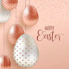 Pink Copper Easter eggs luxury greeting card