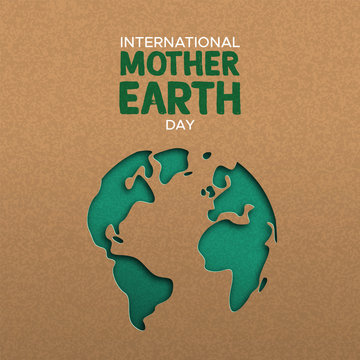 Earth Day illustration of paper cut world map