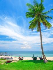 Wall Mural - beach and fishing boat, koh Lanta, Thailand