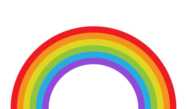 Vector illustration of rainbow in flat style.