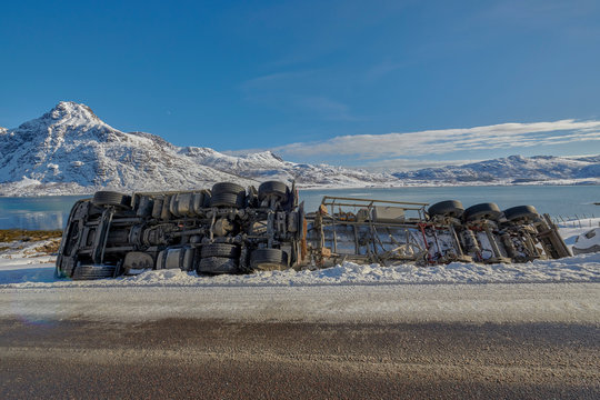 Crash big truck with semi-trailer, Norway around Nusfjord