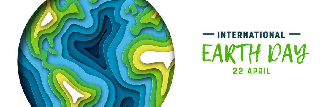 Earth Day banner of green paper cutout planet