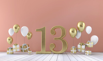 Number 13 birthday party composition with balloons and gift boxes. 3D Rendering