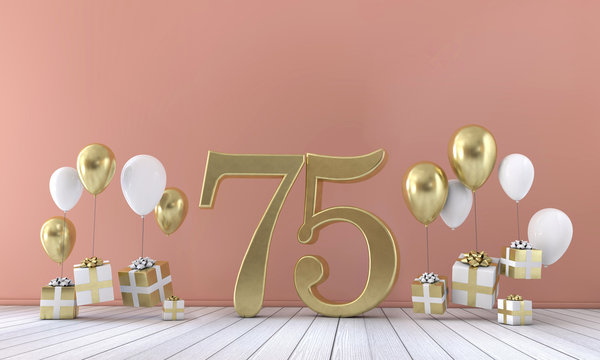 Number 75 birthday party composition with balloons and gift boxes. 3D Rendering